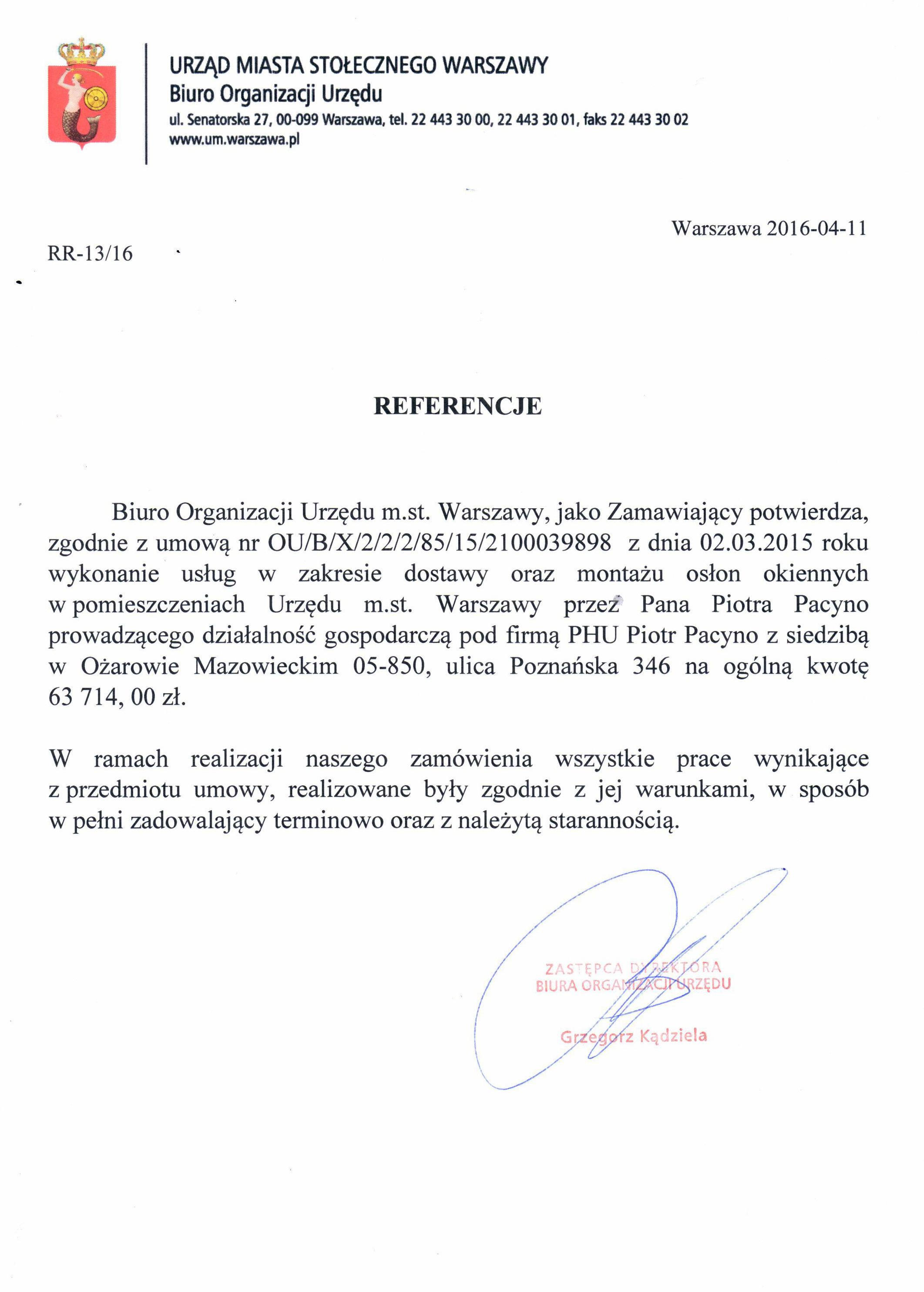 Referencje Urząd Miasta Stołecznego Warszawy